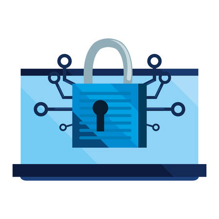 laptop padlock cybersecurity data protection vector illustration