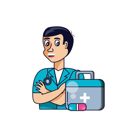 doctor professional with first aid kit vector illustration design Иллюстрация