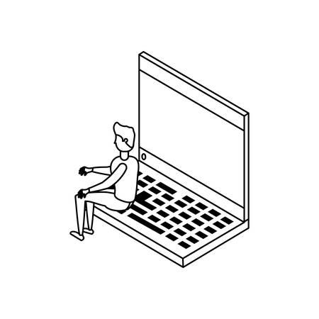 businessman worker with laptop vector illustration design