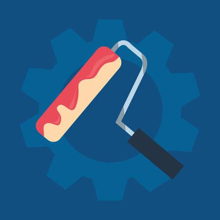 painting roller gear tool vector illustration design