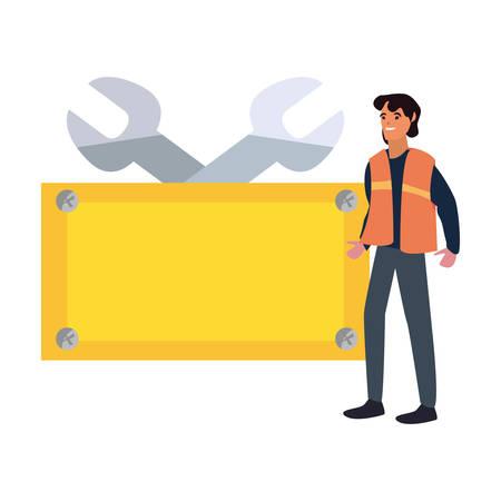 builder wrenches board tool labour day vector illustration Ilustração