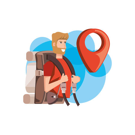 traveler man with travel bag and pin pointer location vector illustration design Çizim