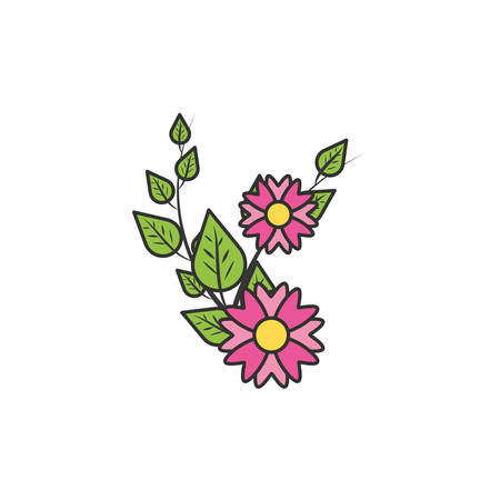 beautiful flowers natural in branch and leafs vector illustration design Çizim