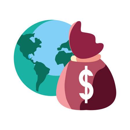 world money bag dollar on white background vector illustration