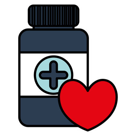 bottle drugs with heart cardio vector illustration design Illusztráció