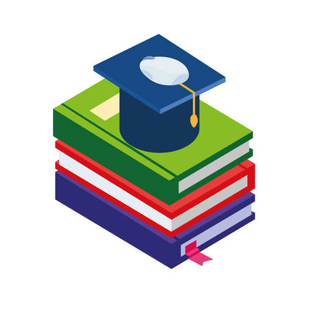 pile text books with hat graduation vector illustration design