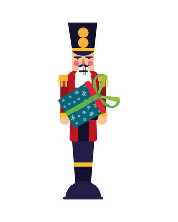 Christmas nutcracker with gift box vector illustration