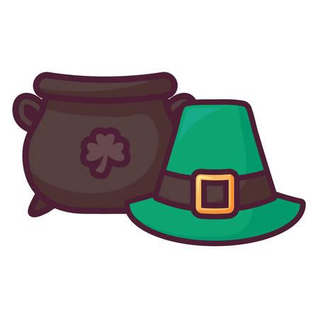 st patricks leprechaun hat with cauldron vector illustration design