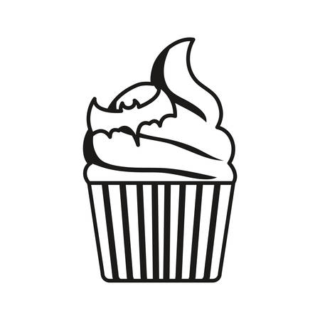 halloween cupcake with bat icon over white background, vector illustration Ilustração