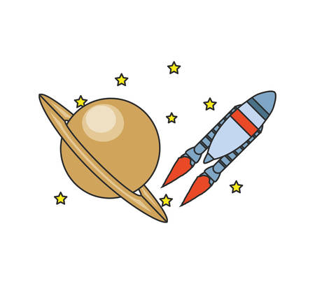 rocket startup with planet saturn and stars vector illustration design