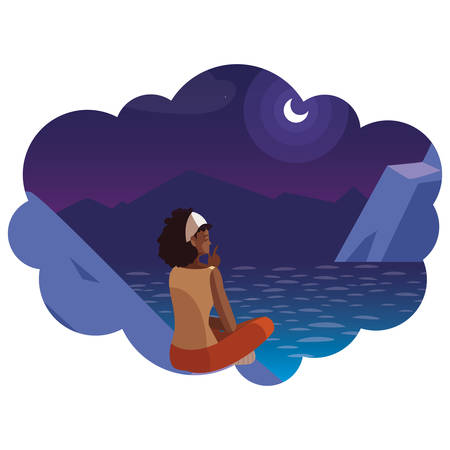 afro woman contemplating horizon in mountains at night scene vector illustration Фото со стока - 130074919