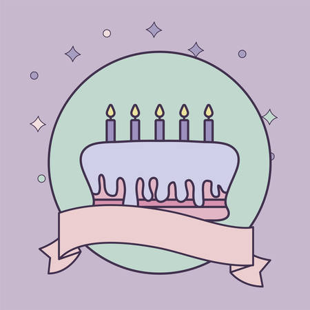 cake of birthday in frame circular with ribbon vector illustration design  イラスト・ベクター素材