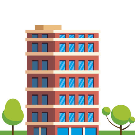 urban building in camp field with trees vector illustration design