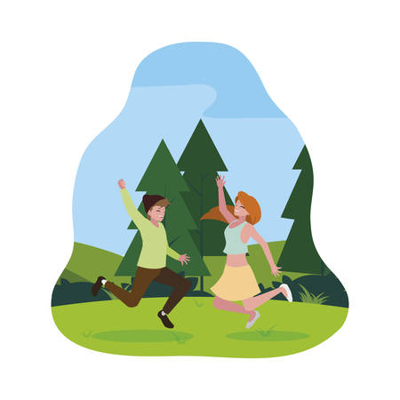 happy young couple celebrating in the camp vector illustration design  イラスト・ベクター素材