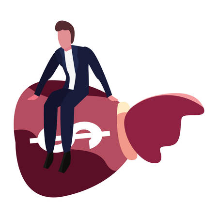 businessman sit on money bag savings vector illustration Çizim