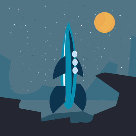 space rocket flying in space with planet vector illustration Reklamní fotografie - 129931610