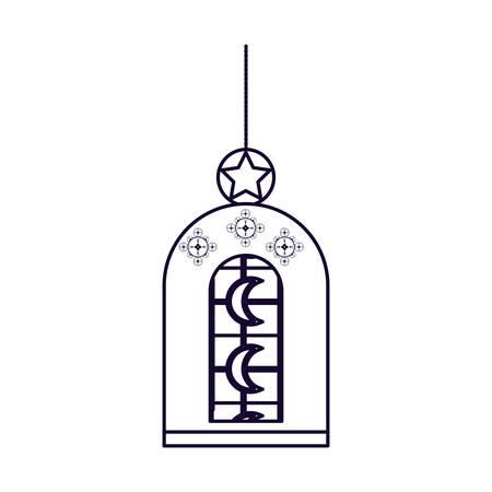 Ramadan Kareem lamp hanging vector illustration design