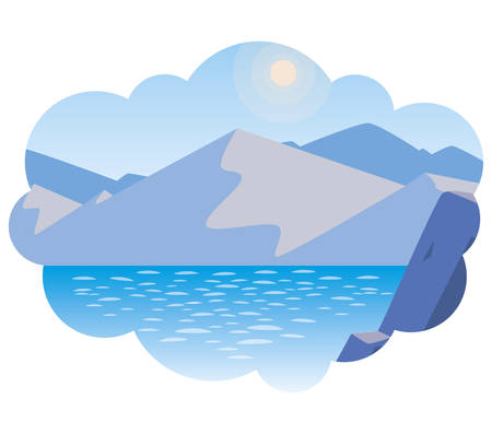 lake and mountains scene vector illustration design 向量圖像