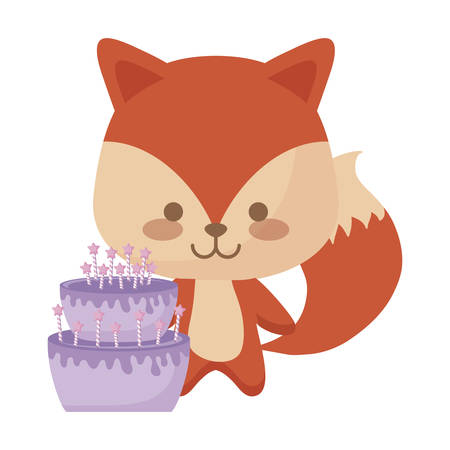 cute fox animal with cake birthday vector illustration design  イラスト・ベクター素材
