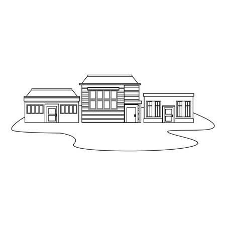 houses store city urban outline vector illustration