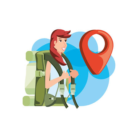 traveler woman with travel bag and pin location vector illustration design Çizim