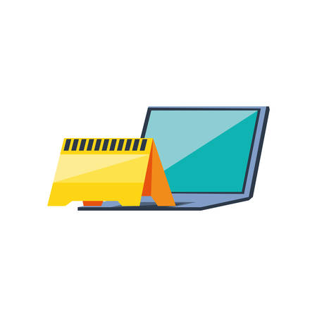 laptop computer with signaling vector illustration design Ilustração