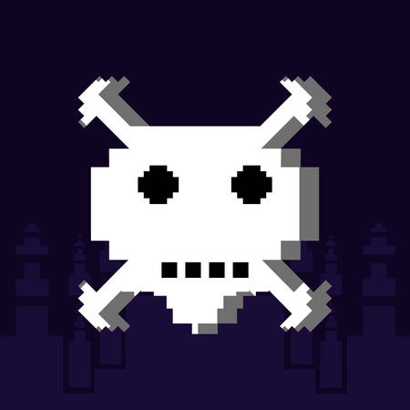 danger skull pixelated icon vector illustration design Ilustração