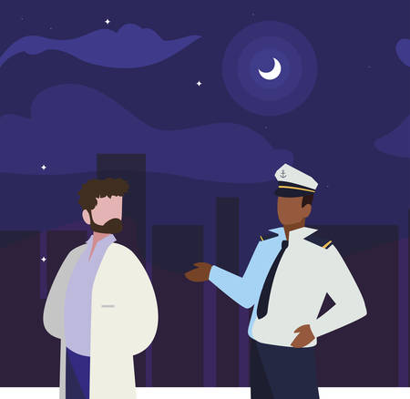 couple of professional workers on the night vector illustration design Banco de Imagens - 130074849