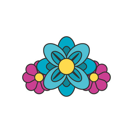 beautiful flowers naturals isolated icon vector illustration design
