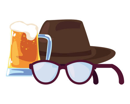 beer eyeglasses hat happy fathers day vector illustration