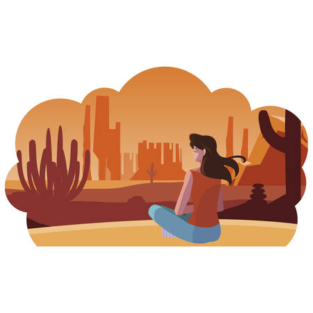woman contemplating horizon in the desert scene vector illustration design