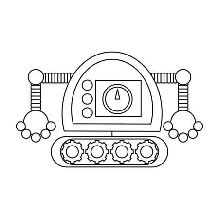 cartoon robot icon over white background black and white design vector illustration Illusztráció