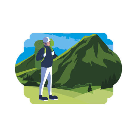 adventurous man with travelbag in the mountains vector illustration design Фото со стока - 130074887