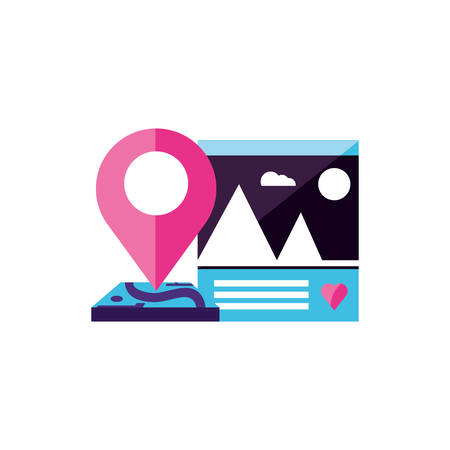picture file with pin location vector illustration design Ilustração
