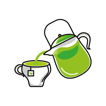 teapot kitchen with tea herb cup vector illustration design