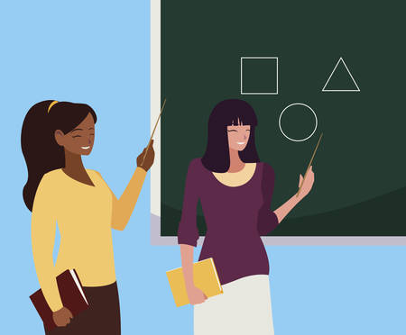 interracial female teachers couple with textbooks and chalkboard vector illustration Illustration