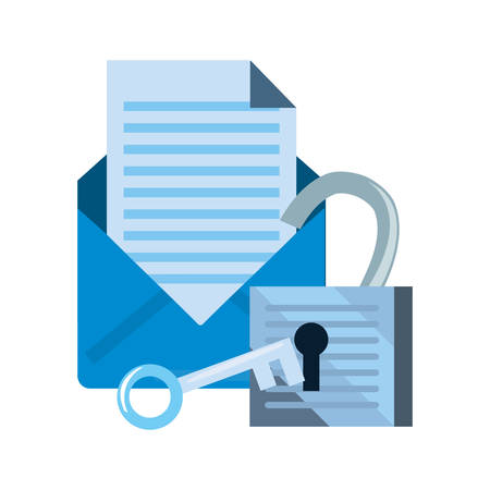 email padlock key cyber security data protection vector illustration
