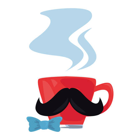 coffee cup mustache bow tie happy fathers day vector illustration Stock Illustratie