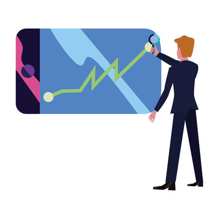 businessman with magnifier decrease report mobile app vector illustration Stok Fotoğraf - 130074803