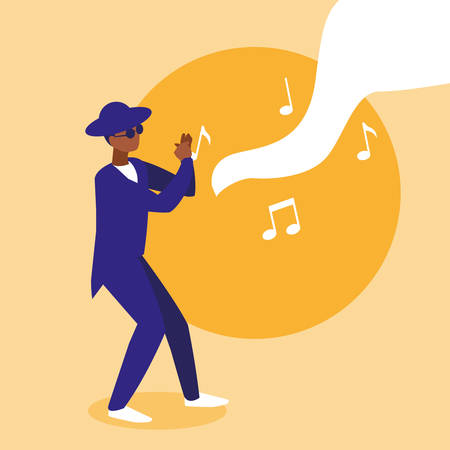 black musician jazz with hat and sunglasses vector illustration design  イラスト・ベクター素材
