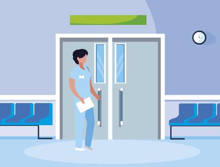 female medicine worker in elevator door vector illustration design