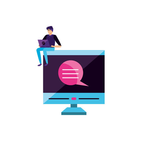 young man using laptop computer with desktop vector illustration design Иллюстрация