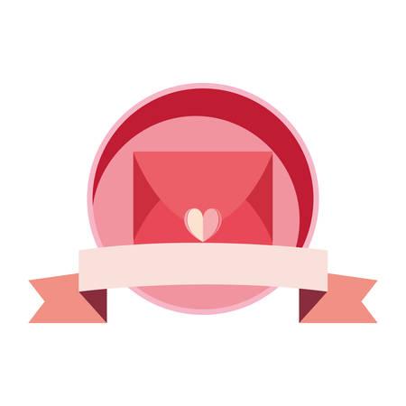 mail message love banner ribbon banner vector illustration Фото со стока - 130155414