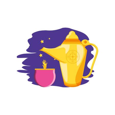 teapot lamp with candle ramadan kareem vector illustration design