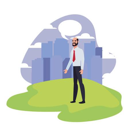 businessman character standing city background vector illustration Illusztráció
