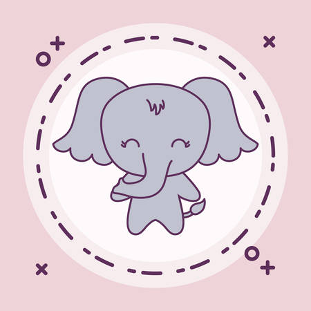 cute elephant animal with frame circular vector illustration design