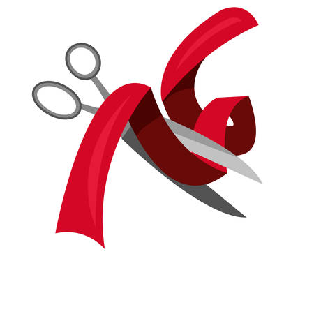 scissors cutting ribbon white background vector illustration