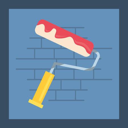 painting roller tool wall brick vector illustration design