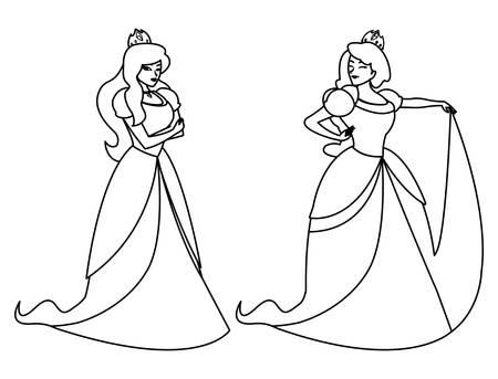 beautiful princesses of tales characters vector illustration design