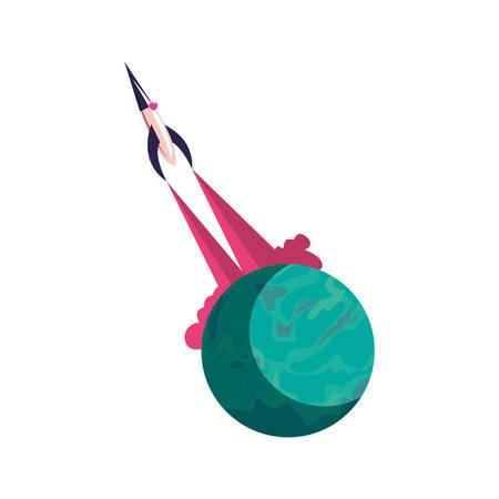 launching spaceship planet explore vector illustration design